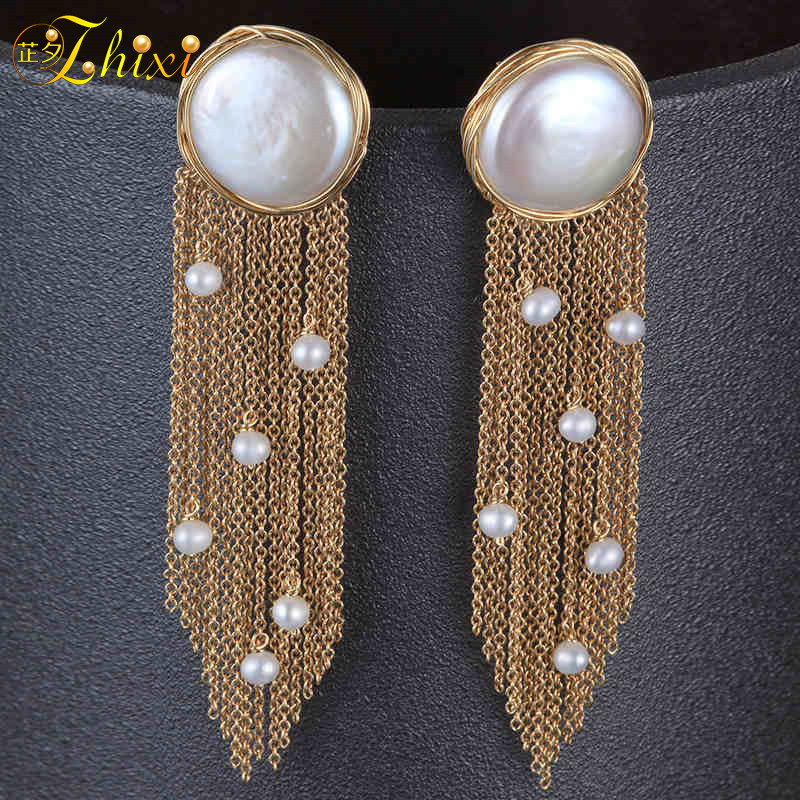 [ZHIXI] Fine 9K Yellow Gold Jewelry Long Tassel Pearl Earrings Natural Big Baroque Pearl Drop Earrings For Women Party EB41 lohaspie ocean party natural sapphire pendant solid 9k yellow gold mother of pearl starfish fine fashion stone pearl jewelry new