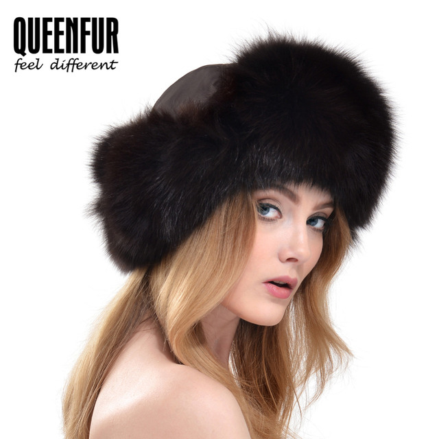QUEENFUR Female Genuine Fox Fur Bomber Hat Real Raccoon Fur Cap 2016 New Women Natural Thick Warm Fox Fur Ear Protector Caps
