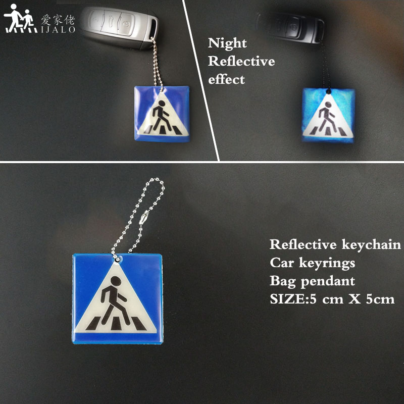 Sidewalk keyrings soft PVC Reflective keychain Bag pendant accessories for traffic visiblity safety use