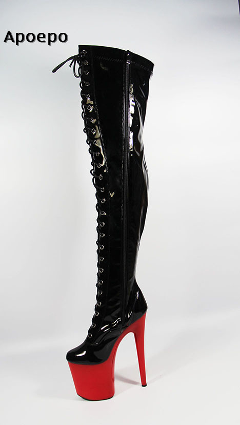 Apoepo Super High Over the Knee Boots for woman 2018 sexy platform lace-up boots 20cm Heel Red Heels Thigh High Boots