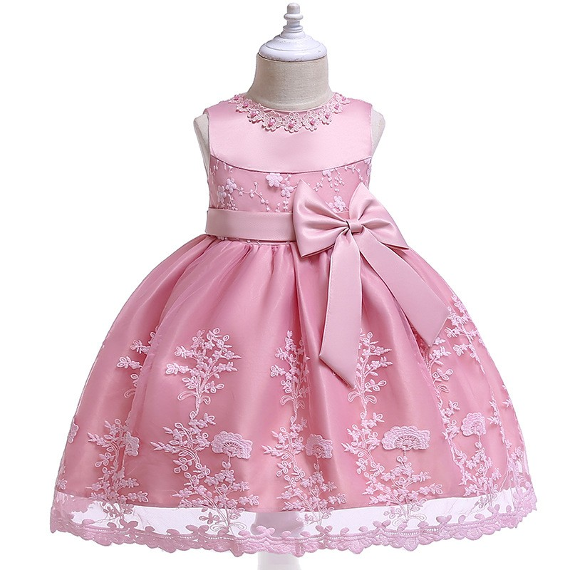 Drop Ship Flowers Lace Contrast Applique Round Collar Sleeveless Baby Party Dress Birthday Costume 3 Colors Children's Clothes