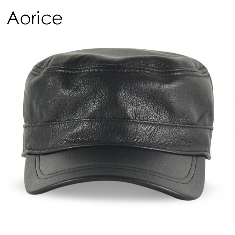 HL154-B Spring genuine leather men baseball cap hat  high quality men's real sheep skin leather adult solid army hats caps genuine leather peak baseball cap hip hop hats men s winter outdoor thick warm ear protection hat elderly leather cap b 7206