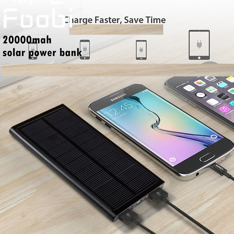 sale foobi solar power bank dual usb power bank 20000mah external battery portable charger. Black Bedroom Furniture Sets. Home Design Ideas