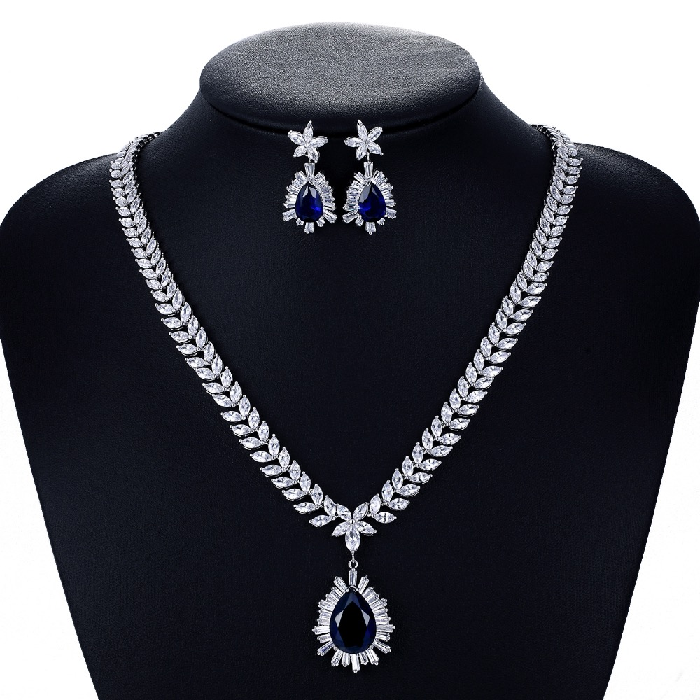 Crystal CZ Cubic Zirconia Bridal Wedding Drop Necklace Earring Set Jewelry Sets for Women Accessories CN10048
