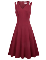 Sexy Women Sleeveless V neck Cut out Shoulders A line Cocktail Party Dress Sale