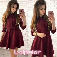 Summer Dress 2018 Women Fashion Bow Causal Party Dresses Spring O-neck Solid Vintage Mini Plus Size