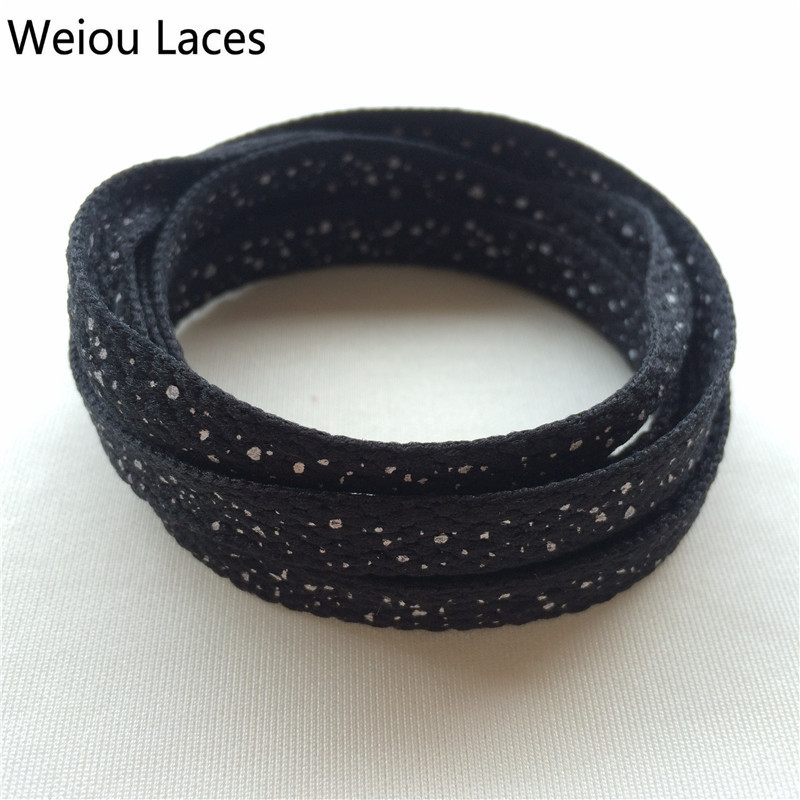 Weiou Fashion Unique Black&White Speckled Plain Flat Laces Polyester Printed Splatter Polka Dot Shoelaces Adult Boot Laces Color