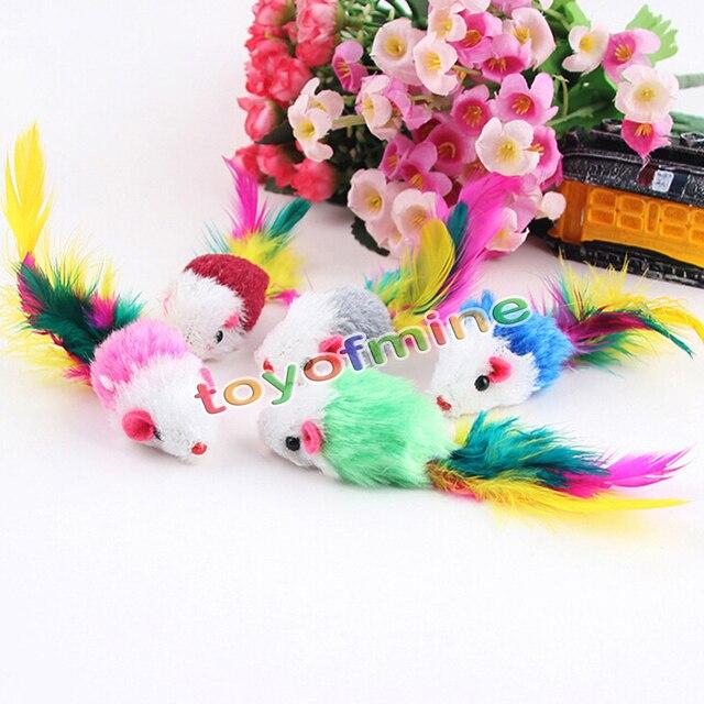 5/10 Pçs/lote Lã Macia Brinquedos Do Gato Colorido Pena Engraçado Jogar Brinquedos Falso Rato Rato Para Gatos Gatinho