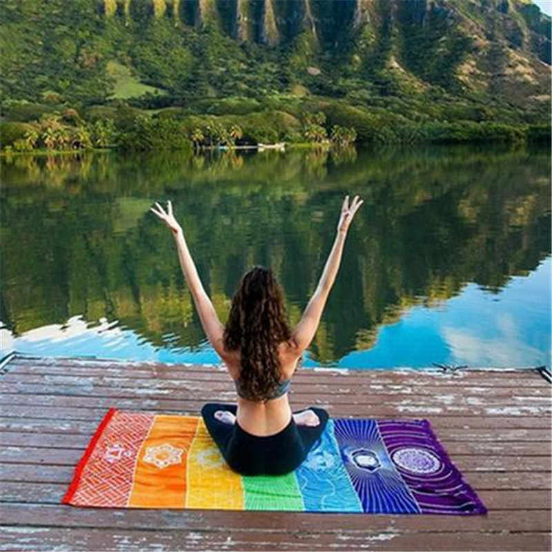 150*75 cm couleurs mélangées serviette de plage châle bain coloré couverture de bain sol extérieur tapis de Yoga Polyester tenture murale tapisserie rayure