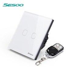 Sesoo Дистанционное управление переключателя 2 Gang 1 Путь SY2-02 Смарт настенный сенсорный выключатель + светодиодный индикатор Кристалл Стекло переключатель Панель