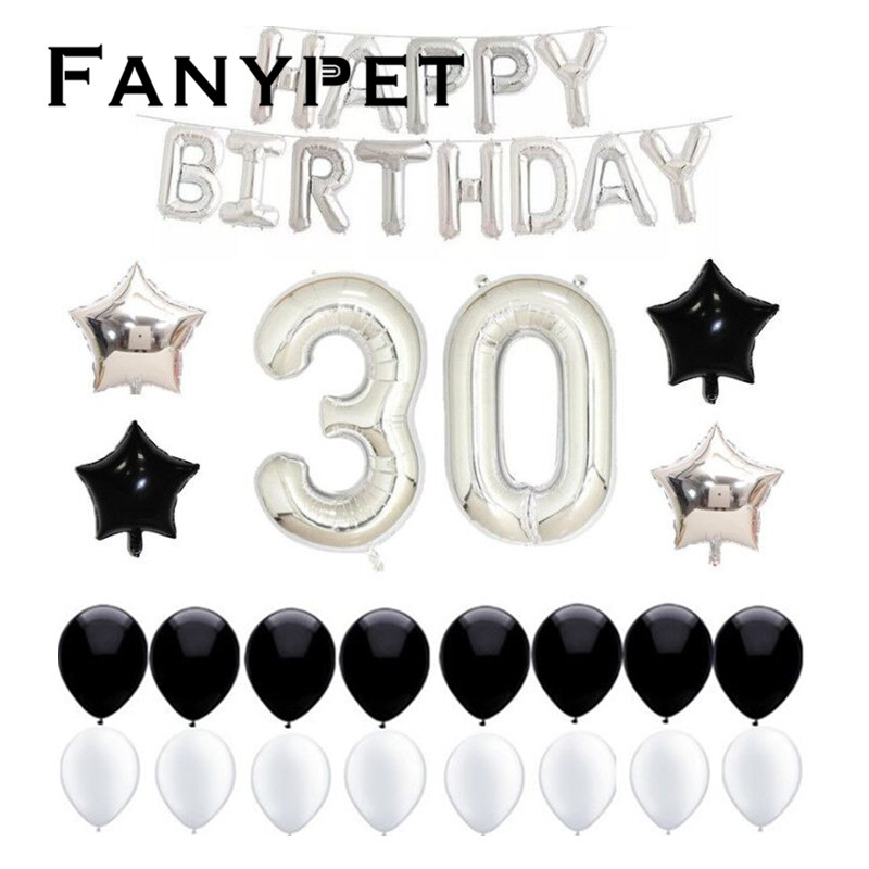 35pcs 40inch large American Design Number Balloon 30 old Birthday Party Decoration kit congratulate For adults 30th birthday