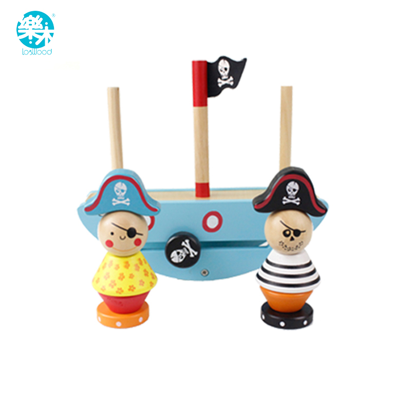 Baby toys wooden block digital aids montessori education for kids balance game pirate learning toys for child gift