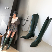 Runway Boots Strange Plaid Knee High-Heel Women Pointed-Toe Ladies New-Fashion Embossing