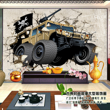 Free shipping 3D living room sofa background wallpaper murals restaurant Cars broken wall Custom sizes photo wallpaper(China (Mainland))