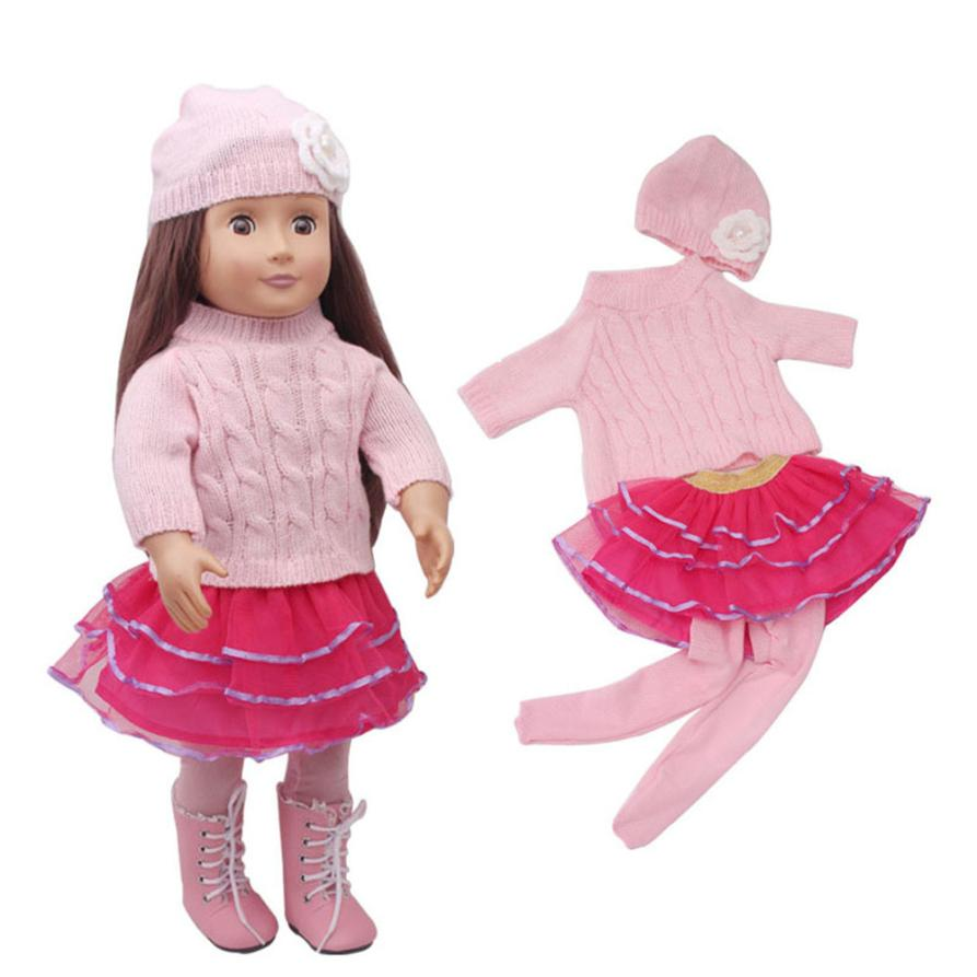 Cute Snowman Sweater And Pants And Skirts And Cap For 18 Inch American Girl Doll L307