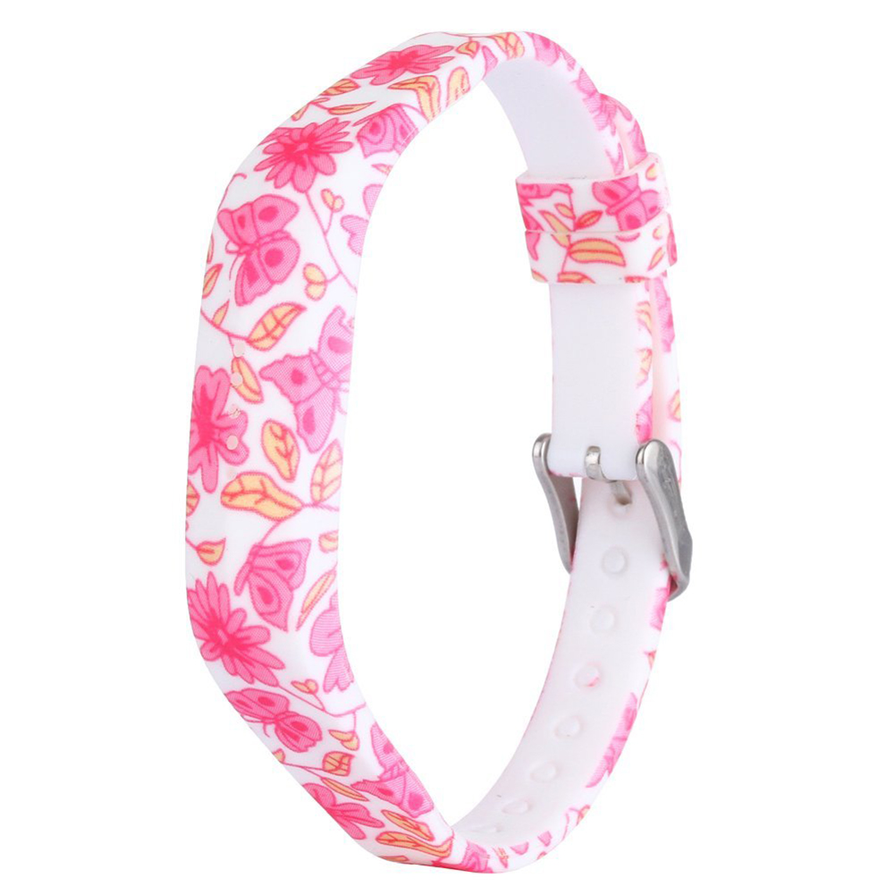 for Fitbit Flex 2 Silicone Replacement Accessories Wristband with Steel Buckle Black Pink Dielianhua