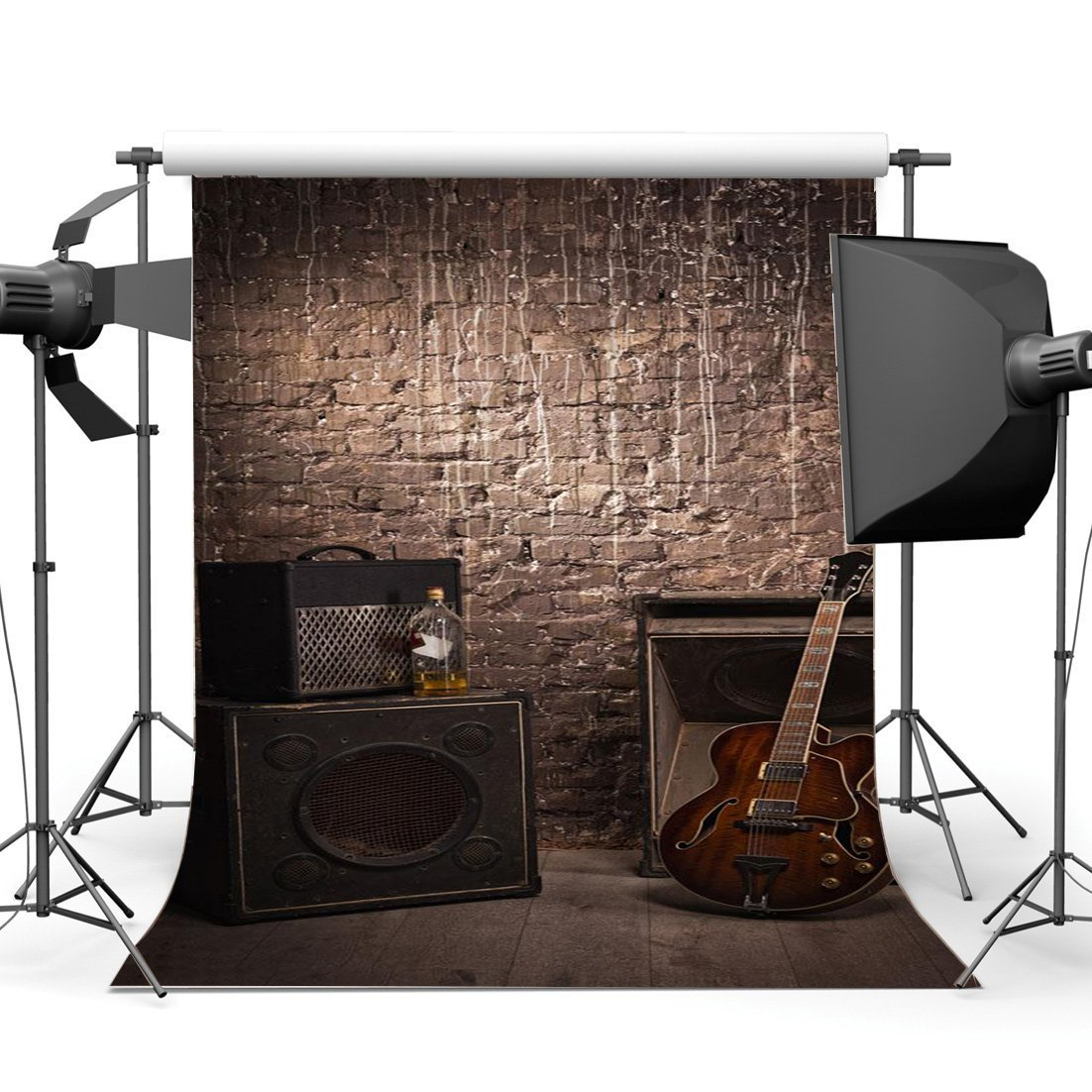 Shabby Guitar Band Concert Backdrop Hip Hop Grunge Brick Wall Gloomy Stripes Wood Floor West Background-in Photo Studio Accessories from Consumer Electronics