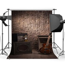 Shabby Guitar Band Concert Backdrop Hip Hop Grunge Brick Wall Gloomy Stripes Wood Floor West Background