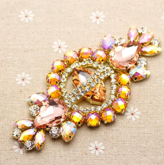 12 5.8cm Glass+resin yellow AB rhinestone applique Gold Base wedding Dress  Belt Rhinestone Chain Sew on Party Dress Decoration 0595456bfcdc
