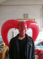 (LH1109) 100% natural latex mask rubber Inflatable horn hood Mask with open eyes and mouth