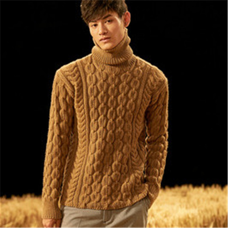 100%hand Made Pure Wool Turtleneck Knit Men Fashion Twisted Pullover Sweater One&over Size