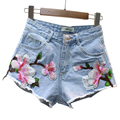 2017 Summer Sexy Shorts Jeans Feminino Slim Embroidered Denim Shorts Women High Waist Short Jeans Plus Size Short Feminino FL506