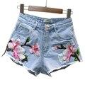 2017 Verão Sexy Shorts Jeans Feminino Fino Bordado Denim Shorts Das Mulheres Curtas De Cintura Alta Jeans Plus Size Short Feminino FL506