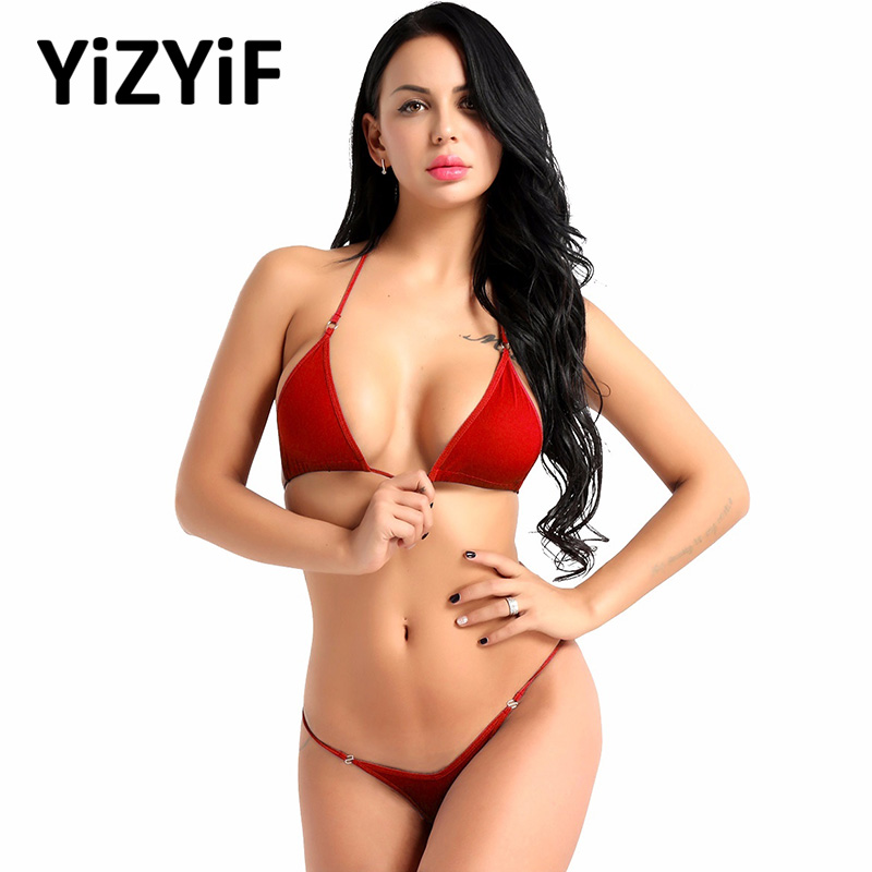 Sexy Bikini 2019 Women Swimwear Bathing Suit Women Halterneck Mini Micro Bikini Bra Top With G-String Thong Bikinis Swimsuit