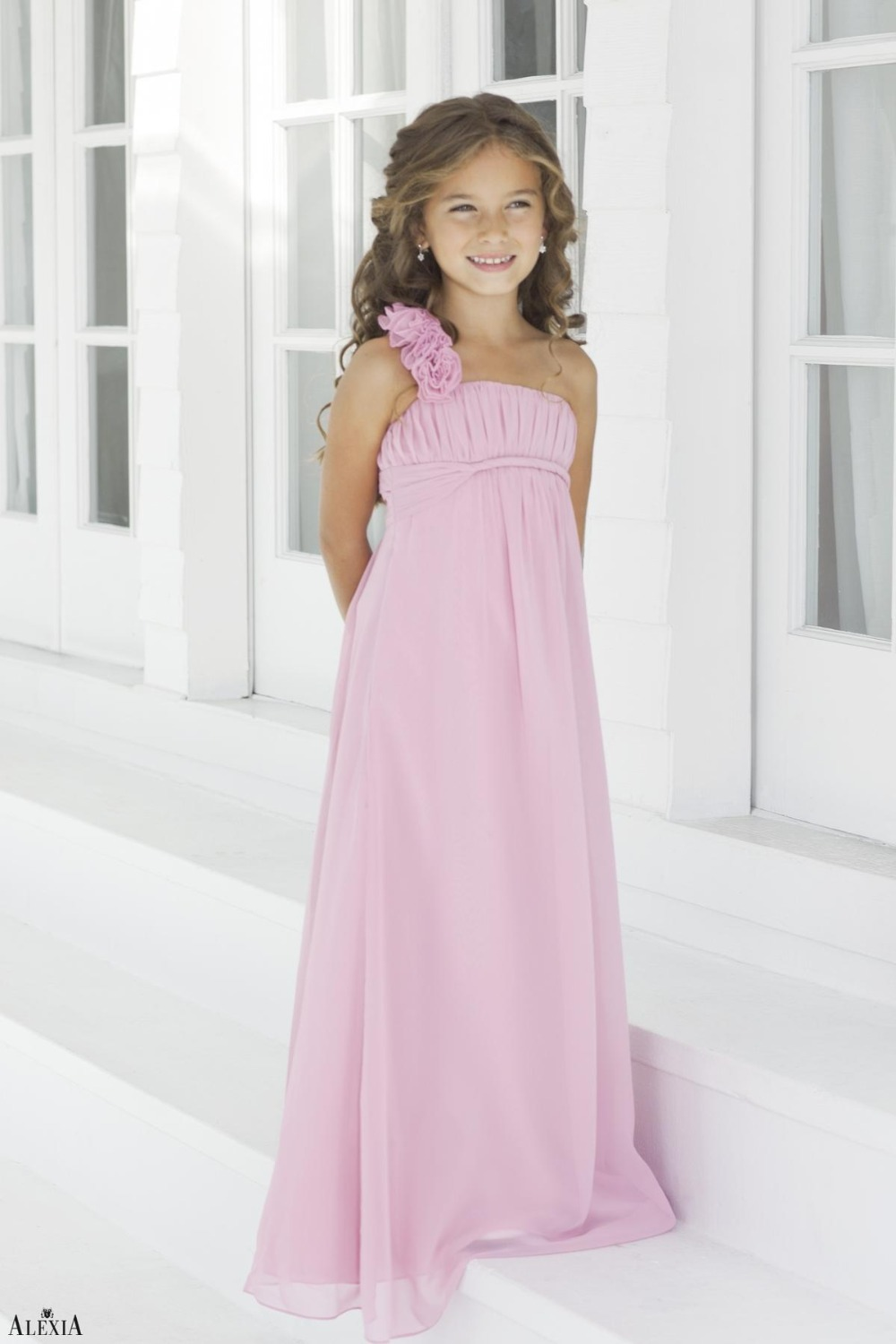 Hot charming pink flower one shoulder floor length long chiffon charming pink flower one shoulder floor length long chiffon children bridesmaid dresses junior bridesmaid dress party gown in bridesmaid dresses from ombrellifo Images