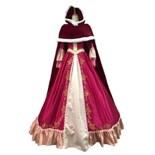 Christmas Halloween Dress Cosplay Princess Costume Cartoon Beauty and the Beast Belle Costume Cosplay Hood Belle Dress цена