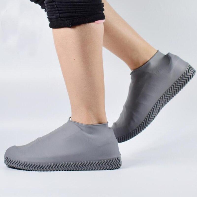 1 Pair Reusable Latex Waterproof Rain Shoes Covers Slip-resistant Rubber Rain Boot Overshoes S/M/L Shoes Accessories 4