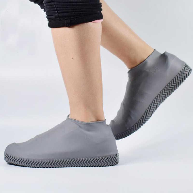 1 คู่ยางแบบใช้ซ้ำได้กันน้ำฝนรองเท้าลื่นยาง Rain BOOT Overshoes S/M/L รองเท้าอุปกรณ์เสริม