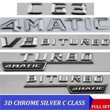 3D Chrome W204 W205 สัญลักษณ์C200 C250 C300 C350 C63 CLA Letter Autoรถสติกเกอร์ป้ายโลโก้EmblemaสำหรับMersedes mercedes Benz AMG