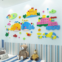 Madedo Baby Whales and Ship Design Acrylic Wall Stickers DIY Stickers for Kids Room Nursery School Swimming Pool Decoration