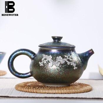 Vintage Ceramics Colorful Build Light Inlaid Silver Tea Pot Kung Fu Tea Set Kiln Change Fair Cup Teapot with 9 Holes Out Water