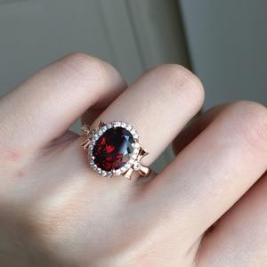 Image 3 - MeiBaPJ bague en pierres précieuses en grenat rouge naturelle pour femmes, bijou fin à breloques en argent Sterling 925
