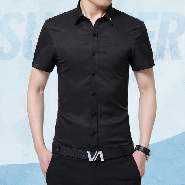a56b403e282 1pcs Mens plus size Slim fit shirts 2019 Summer Pure silk fabric Thin short  sleeves dress shirts Men Skinny shirts overhemd boys