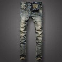 Classic Retro Design Men Jeans High Quality Slim Fit Buttons Mens Pants Denim Stripe Jeans Youth