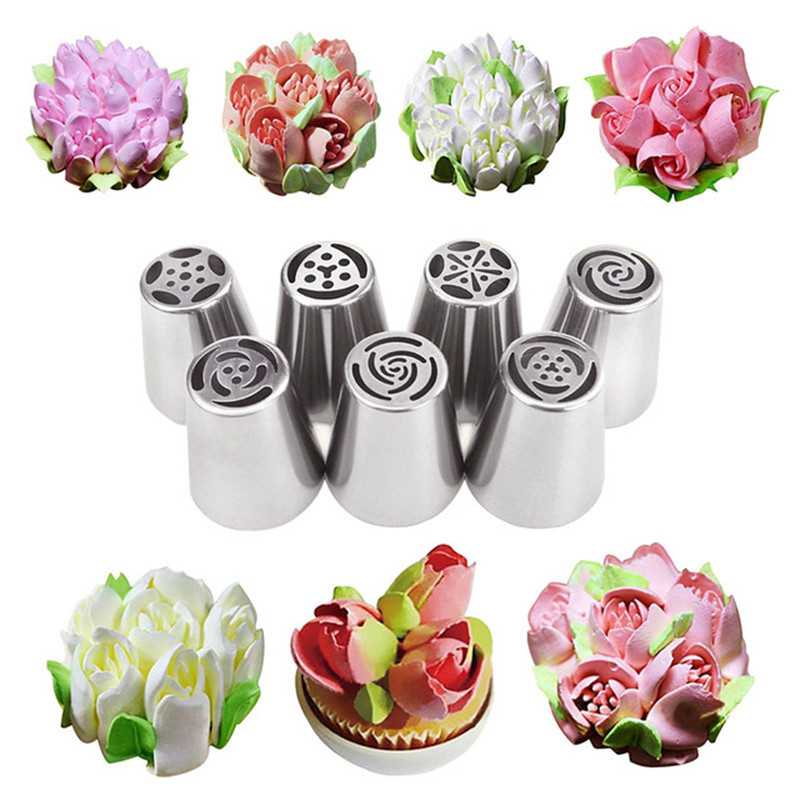 7PCS/Set Stainless Steel Russian Tulip Icing Piping Cake ...