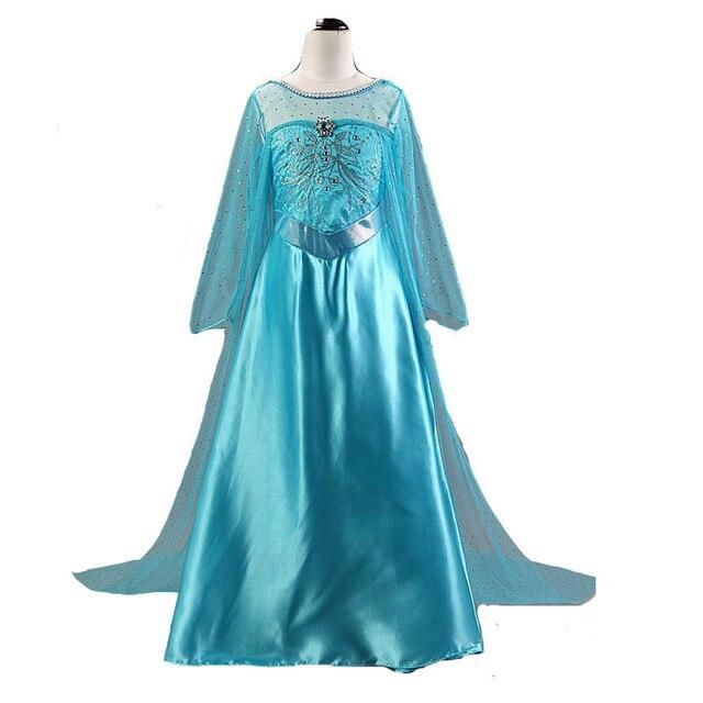 Nowa sukienka Elsa dziewczyny księżniczka anna Elsa kostium Halloween Elza przebranie na karnawał z długim rękawem sukienka dla dzieci dziewczyny Vestidos