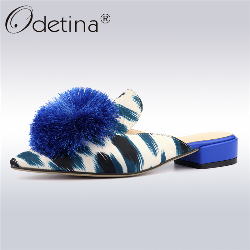 Odetina New Fashion Womens Outdoor Slipper Square Low Heel Pointed Toe Mules Slip On Casual Shoes Fur Ball Slippers Plus Size 42Odetina New Fashion Womens Outdoor Slipper Square Low Heel Pointed Toe Mules Slip On Casual Shoes Fur Ball Slippers Plus Size 42