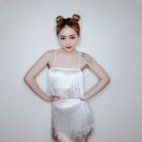 New Jazz Dance Costumes Dress Sexy Loose Suits Of Black And White Vest Skirts For Women Bar Nightclub Clothes DQT1152