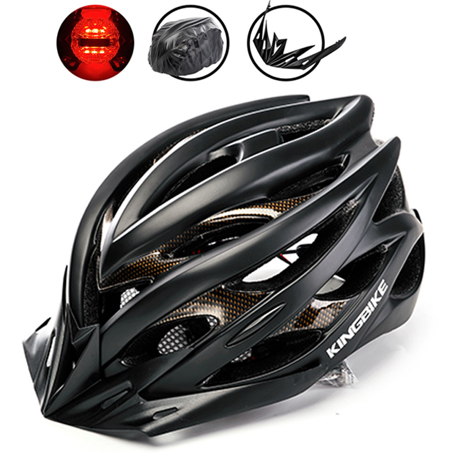 KINGBIKE Cycling Helmet With Back Light Bicycle Helmet MTB PVC+EPS Road Mountain Ultralight In-mold Bike Helmet Casco Ciclismo mountain dh cycling helmet mtb down hill bicycle helmet ultralight women men in mold bike helmet casco ciclismo m l size