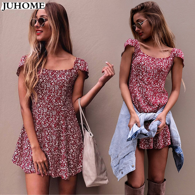 217b8ab000f Sexy backless floral print summer dress women clothes Fashion Beach dresses  Boho strap red short party skater dress robe femme