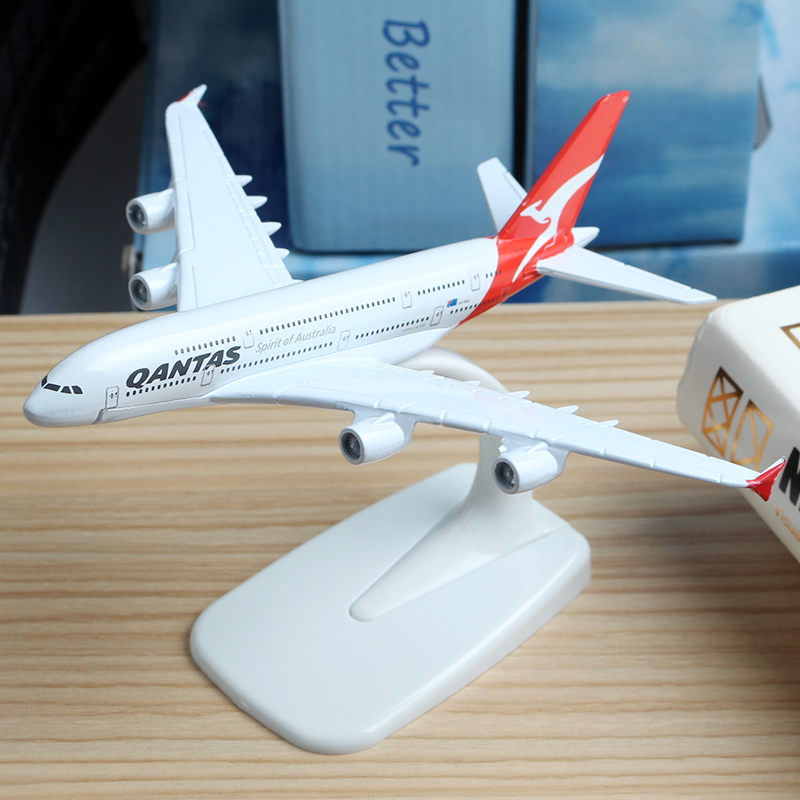 16cm Australia Qantas A380 Plane Model Alloy Model Aviation Model Australia A380 Aircraft Airplane Model Stand Craft 1:400 Toys