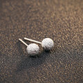 GZ Round Ball Stud Earring 925 Sterling Silver Women Jewelry 100% S925 Silver boucle d'oreille AAA White Crystal Earrings