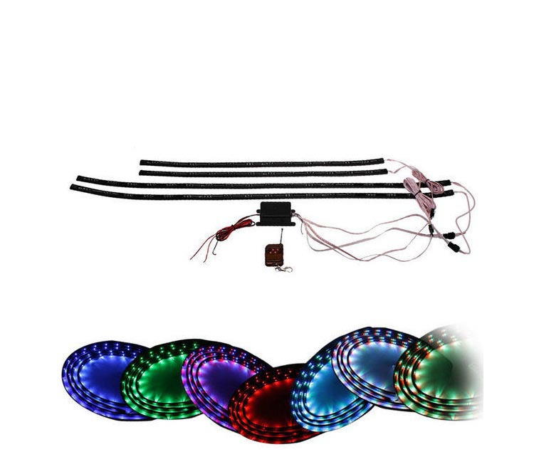 ФОТО Car Chassis Light Colorful Car LED Lamp Strips Automobile Chassis Lights Voice-activated LED Lights Decorative Lights 120cm+90cm