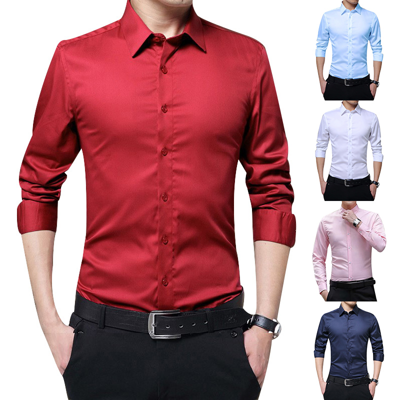Men Long Sleeve Shirts Slim Fit Solid Business Formal Shirts For Autumn IK88