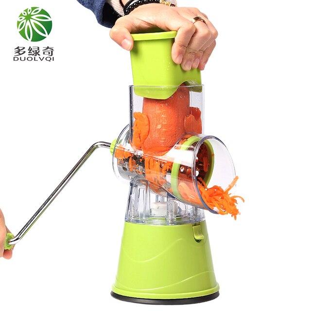 DUOLVQI, cortador de vegetales Manual, accesorios de cocina, cortador de mandolina redondo multifuncional, utensilios de cocina para patatas, queso 3