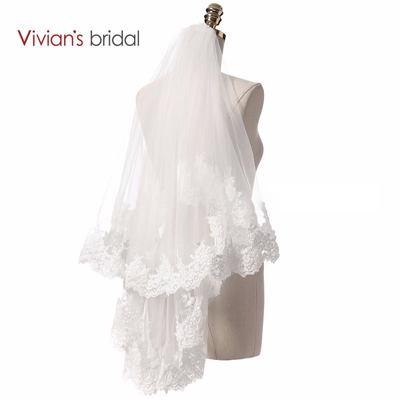 Two Layer Short Wedding Veil with Lace Appliques Bride Veil Mariage Wedding Accessories